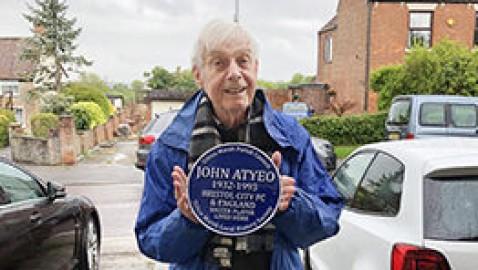 Blue plaque for former England footballer John Atyeo from Dilton Marsh