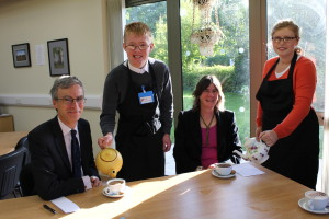 MP Andrew Murrison and headteacher Janet Kenward are served by Kieran and Olivia.