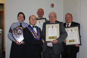 Pictured left to right, Cadet of the Year Katlin Simons; mayor David Windess; Mike Pearce; Poppy Appeal organiser Bill Prior; and Westbury Lion David Firth